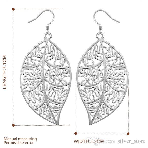 Marka yeni gümüş kaplama Asılı yaprak küpe DFMSE128, kadın 925 gümüş Dangle Avize küpe 10 çift çok