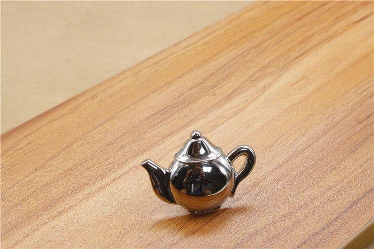 Solid antique copper red bronze silver black single door knob/door handle for cabinet, kitchen, drawer tea pot shape furniture knob#221