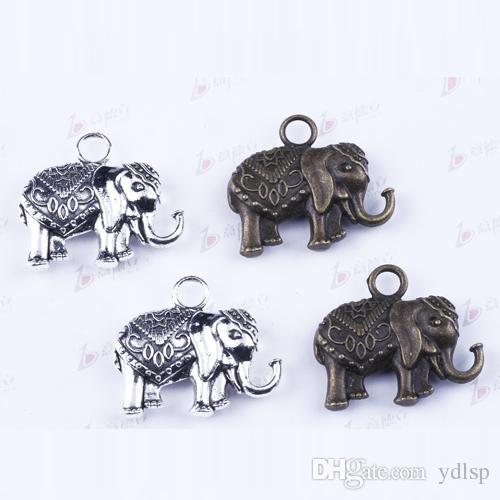 2016 New Fashion DIY Retro Silver Elephant Pendant Fit Bracelets Necklace Metal Jewelry Making 2873
