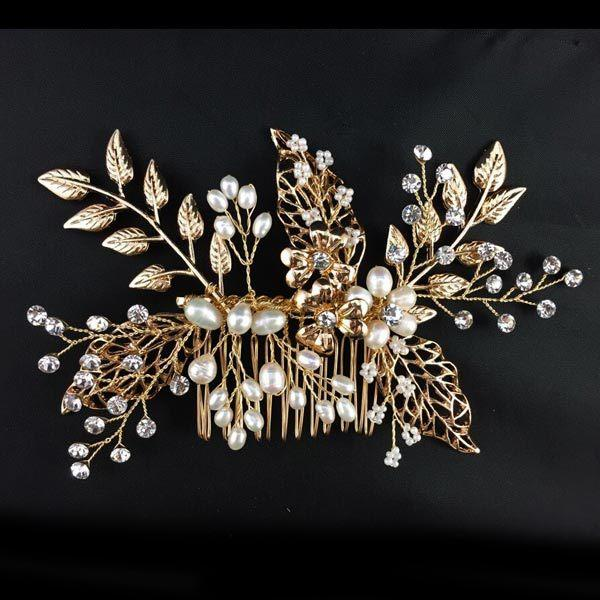 Charming Gold Leaves Tiaras Hair Accessories With Comb 2015 Fashion Hand Made Style Crystals Pearls Bridal For Wedding Event