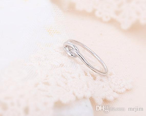 2016 New Arrival Hot Min -ouro, prata, rosa de ouro Infinito Nó Anel, nó coração anéis para as mulheres EY-R022