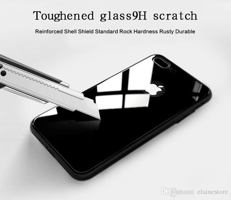 Tempered Glass Protective Case Cover Cell Phone Shell Soft Silicone Frame For iphone X 8plus 8 7plus 7 6plus 6s