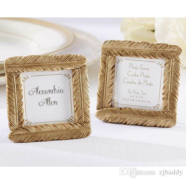 Evenement Feestartikelen Bruiloft Gunsten van Gold Feather Photo Frame Place Card Houder 50 Stks Groothandel verjaardag Gunsten