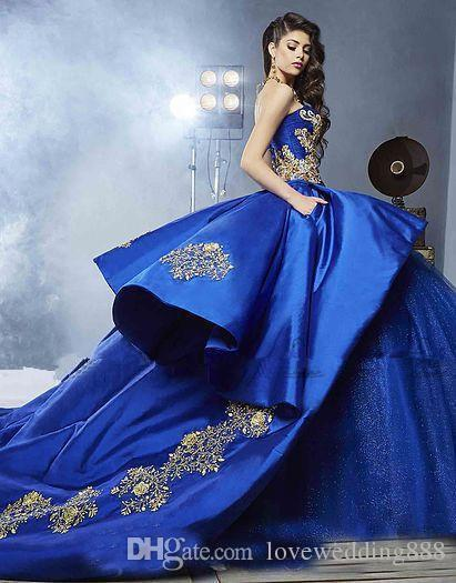 2019 Gorgeous Sweet 16 Prom Ball Gown Sweetheart with Gold Embroidery Bridal Quinceanera Dresses Custom Made Outfit Formal Party Dress