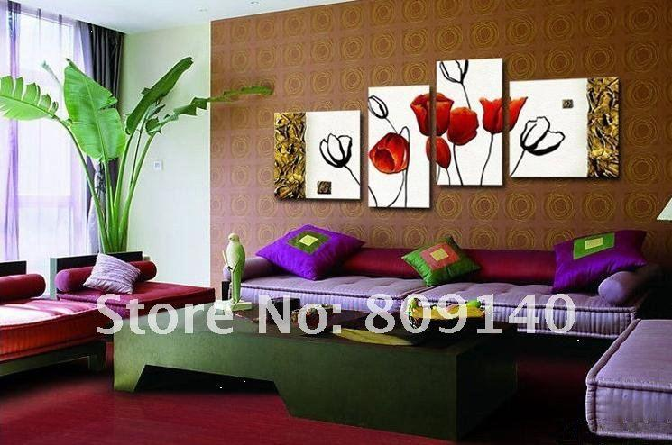 Theme Living Room Red Tulips Modern Home Design Ideas