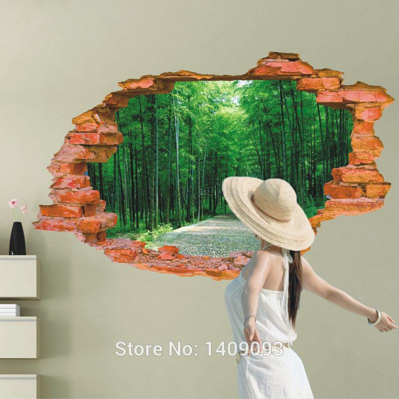 2016 Large Wall Sticker Tree Forest Landscape 3d Brick Decals