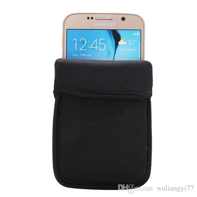 ブラック弾性電話ケース柔らかいネオプレンプロテクタースリーブポーチバッグ肌カバー携帯電話ケースiPhone 6SとサムスンギャラクシーS6エッジ