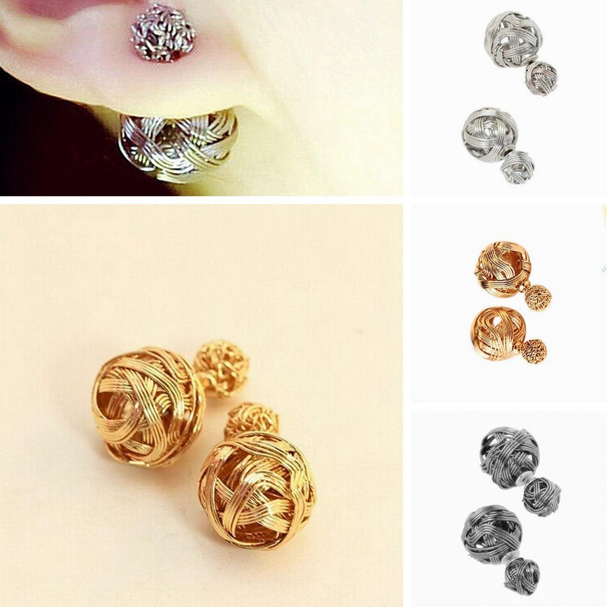 2018 Unique Design Charm Ear Stud Fad Exotic Double Sides Two ...