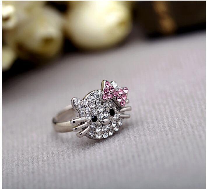 gato rhinestonr clara anillos de joyería de moda linda con el arco completo del taladro abre los anillos de la porción J153 /