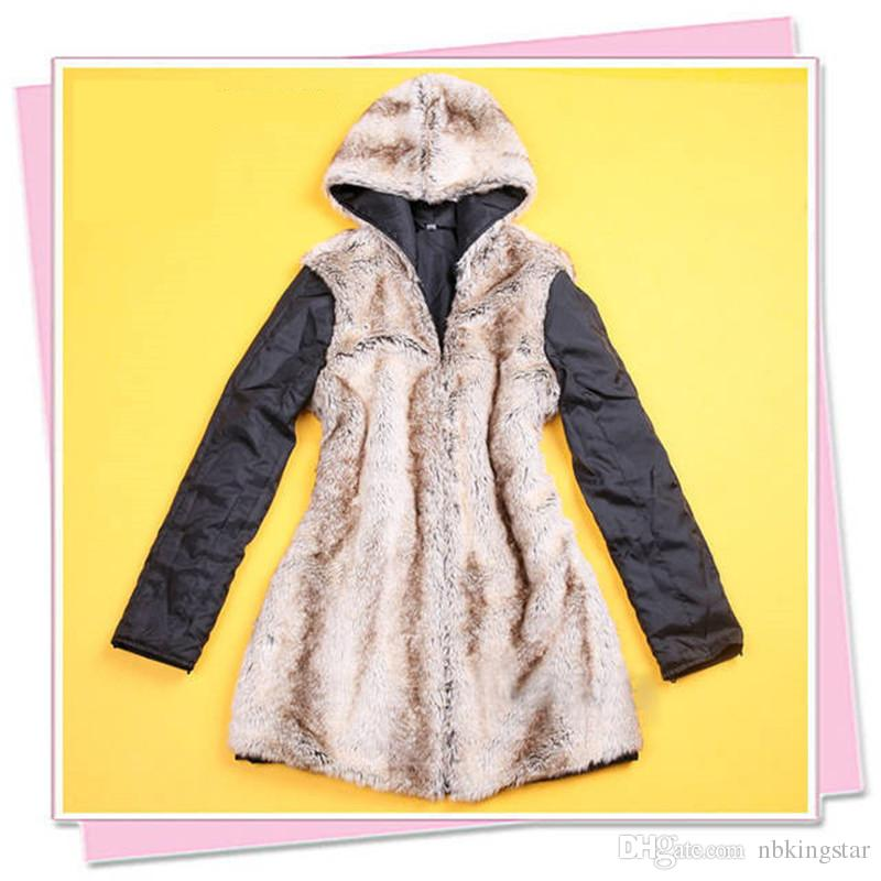 Women Winter Warm Thicken Cotton-padded Casual Coat Long Jacket Outwear Military Hooded Hat Liner Detachab Coat Jacket Fur Trench Coat S-3XL
