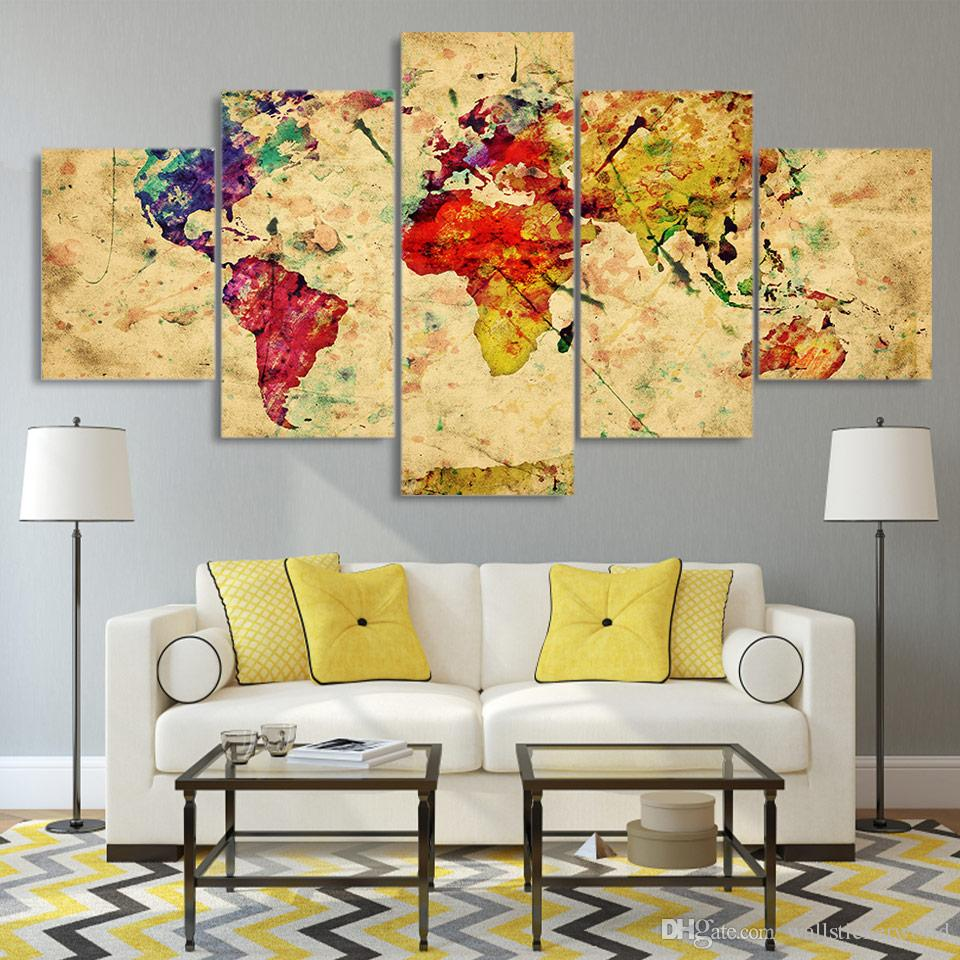 5 Panel Framed HD Printed Vintage World Map Poster Canvas Oil Painting Wall Pictures For Living Room Arts