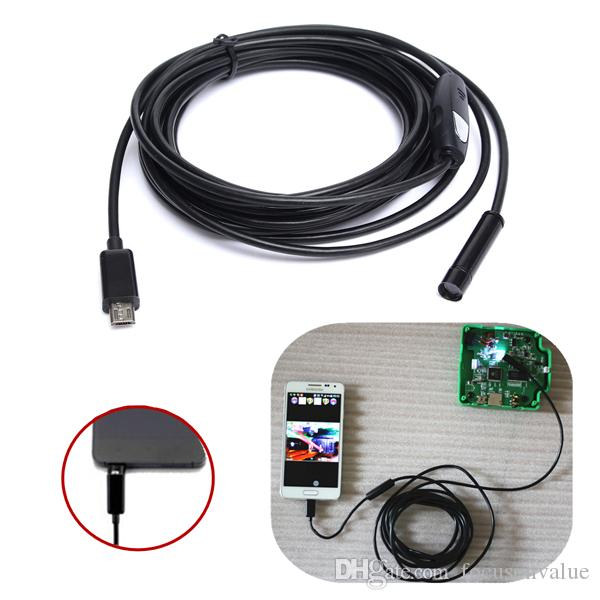 5.5mm 6 leds 1 M Micro USB endoscópio endoscópio android HD 720 P 1.3MP Inspeção Camera Snake Tube para Android PC 5 pcs