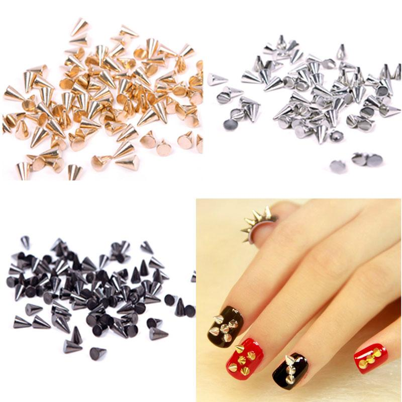 Punk Nail Art Alloy 3d Rivet Studs Spikes Cone Shaped Diy Decoration ...
