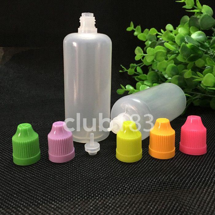 Gratis verzending e vloeibare plastic druppelaar flessen 100ml oogdruppel fles Kindveilige dop lange dunne tip plastic flessen