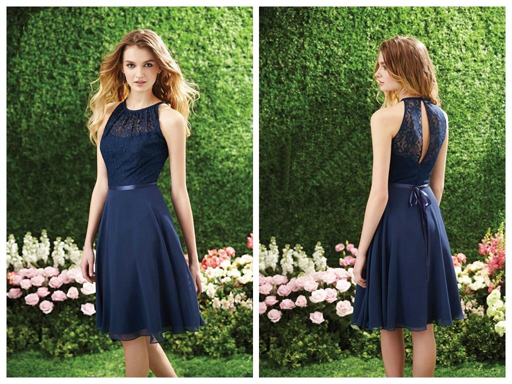 Sexy navy blue bridesmaid dresses 2015 chiffon lace a line halter sexy navy blue bridesmaid dresses 2015 chiffon lace a line halter neckline sleeveless sash keyhole back fomal prom party dress knee length designer gown ombrellifo Image collections