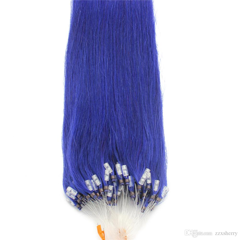 Full Head 100g Blue Micro Loop Ring Remy Human Hair Extensions Blue
