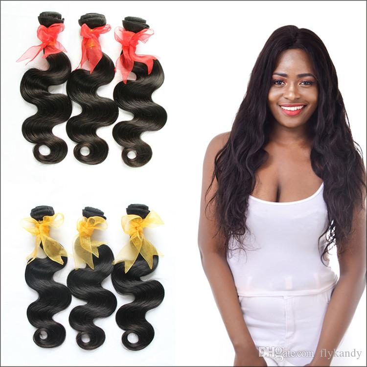 Natural Black 7A Brazilian Virgin Body Wave Hair Weaving Extensions Smooth  And Bouncy Pure Virgin Remy More Wavy Brazilian Body Wave Weaves Straight  Human ... 1d2ca19994e8