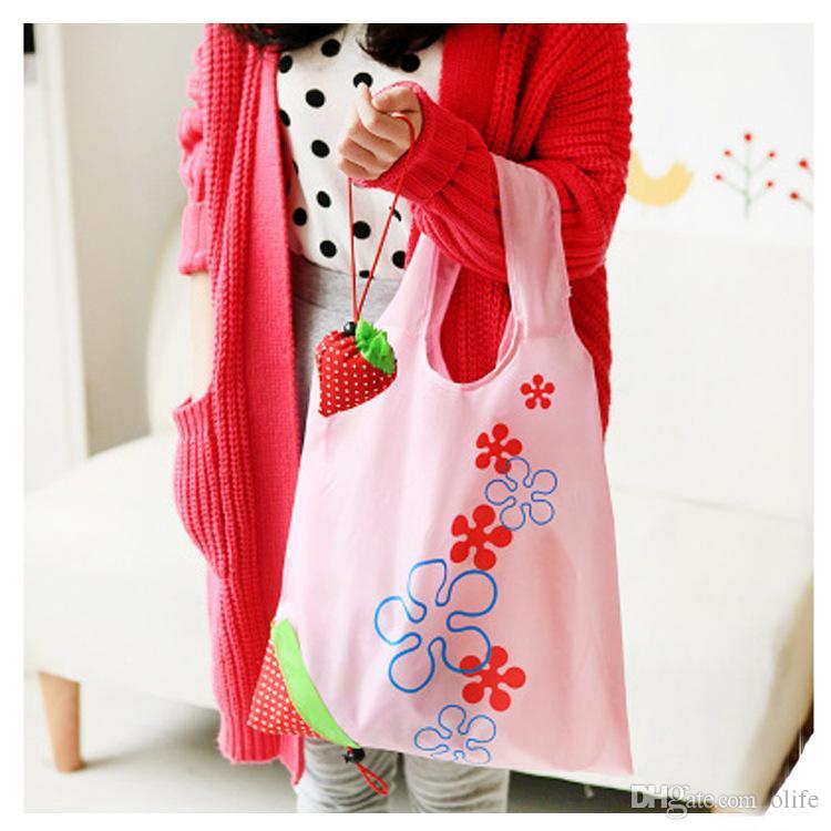 2016 Nylon mignon Fraise Shopping Bag Eco-Friendly réutilisable Shopping Tote Portable Pliable Pliable Sacs Pochette Go Green OEM