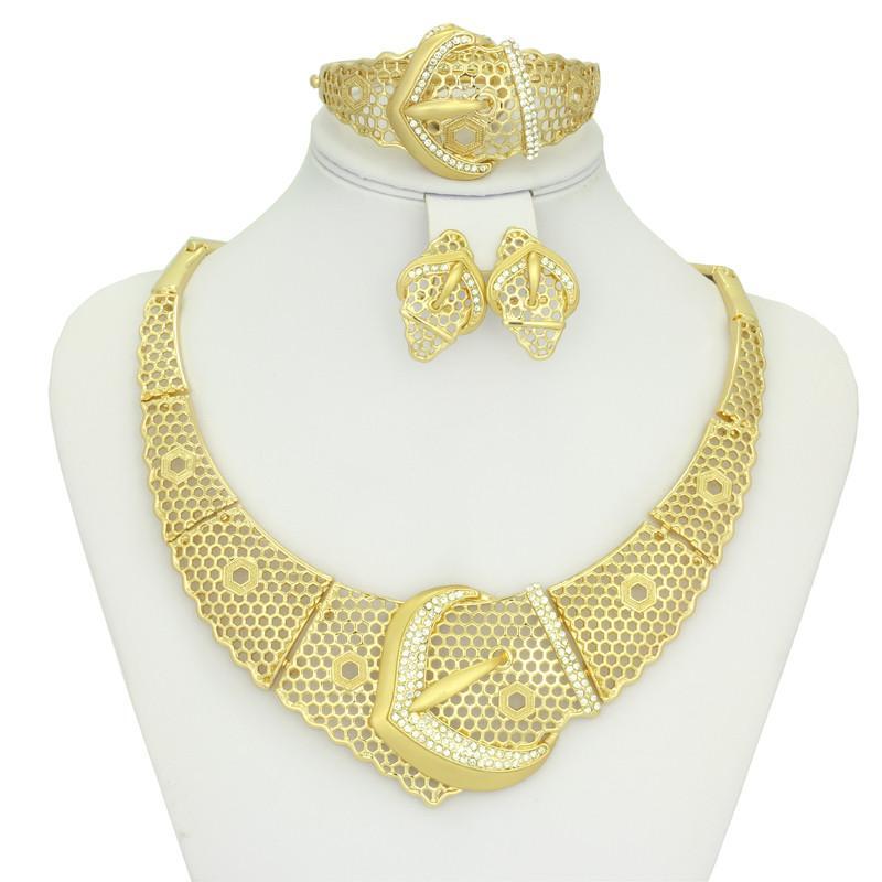 2015 New dubai 18K Gold Plated Jewelry Beautiful golden hollow ...