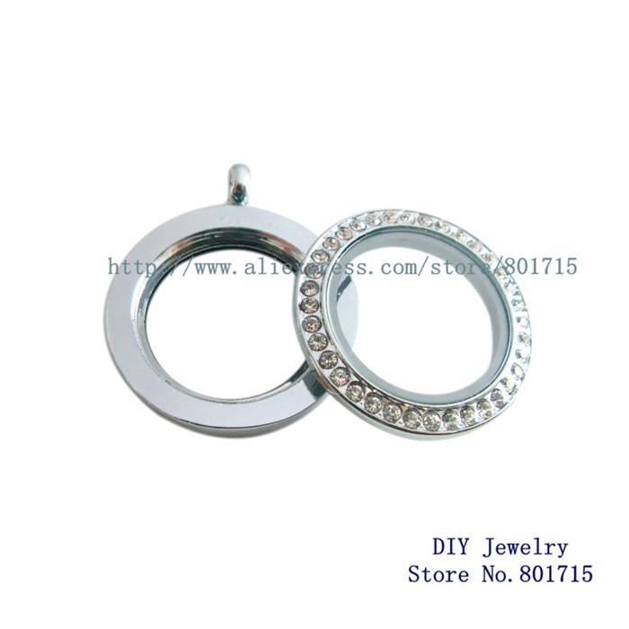 mit sauberem Strass 30mm Runde Twist-Gewindeschraube Top-Medaillon Floating Charm-Medaillon Fit-Charms können Halskette Keychain machen