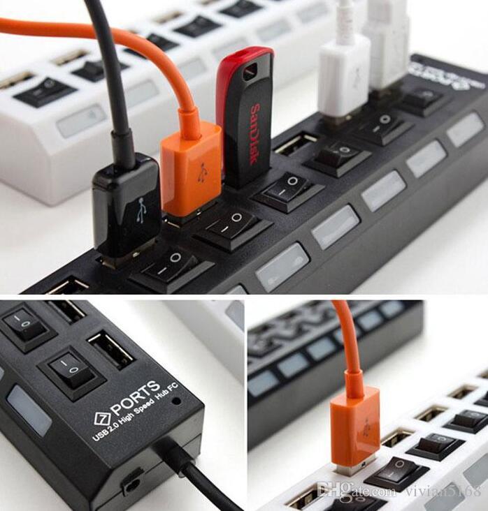 Portable Universelle Noir Blanc USB 2.0 Multi-Socket de Port 7 Ports Hub USB PC Portable de Charge Rapide Chargeur/Station de Bureau de Cadeau