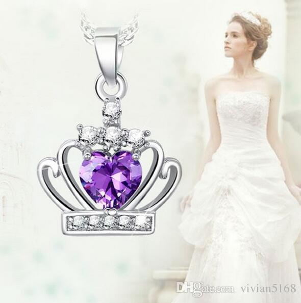 Clássico Crown Pingente Colar Fashion 925 Sterling Prata Austríaca Cristal Crown Pendant Roxo / Prata Water Onda Colar Mulheres Jóias