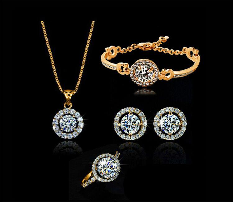 Romantic Wedding Jewelry Sets for Women Luxury Ring Bracelet Earrings Necklace Sets Crystal Rhinestone Jewelry 1127