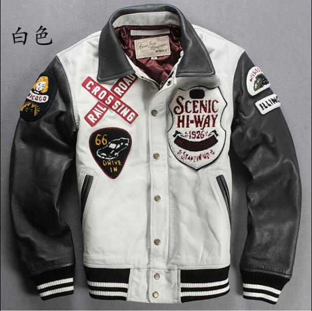 2017 High Quality Avirex Leather Jackets Scenic Hi Way Baseball ...