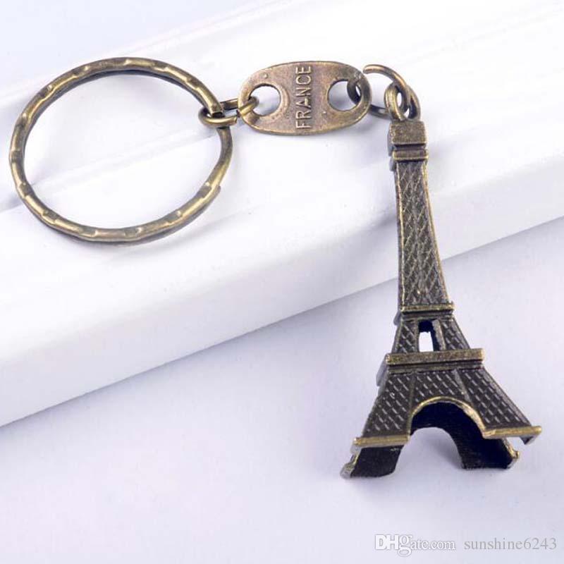 خمر برج ايفل المفاتيح مختوم باريس فرنسا برج قلادة مفتاح الطوق الهدايا الأزياء الذهب الشظية البرونزية