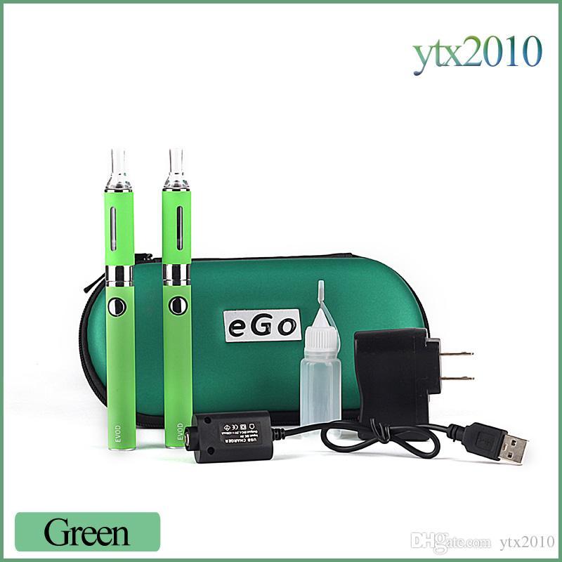 E Cigarette MT3 EVOD Double Starter Kit 2.4ML Vaporizer 650mah 900mah 1100mah EVOD Battery Detachable Coil Ecigs DHL Free
