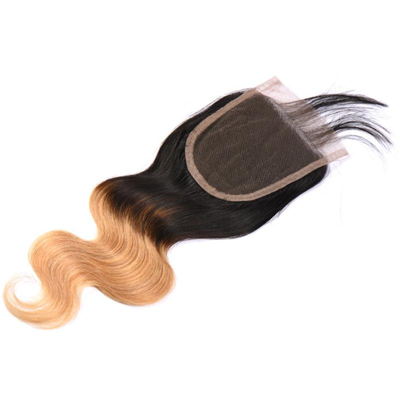 Ombre Farbe 1B 27 # Blonde Körperwelle Brasilianisches Reines Menschenhaar 4 * 4 Spitze Verschluss Freies Mittel Drei Teil 10-24 zoll Freies Shippment