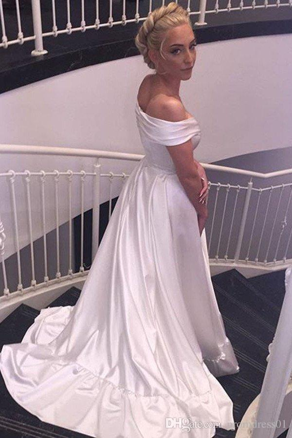 Hot Selling Simple Off the Shoulder Long Beach Wedding Dresses Bridal Gowns In Stock