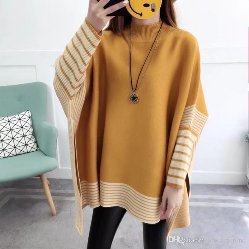 جديد الخريف الشتاء المرأة المعطف سترة سيدة محبوك عباءة جاكيت pulovers تريكو البلوزات C3204