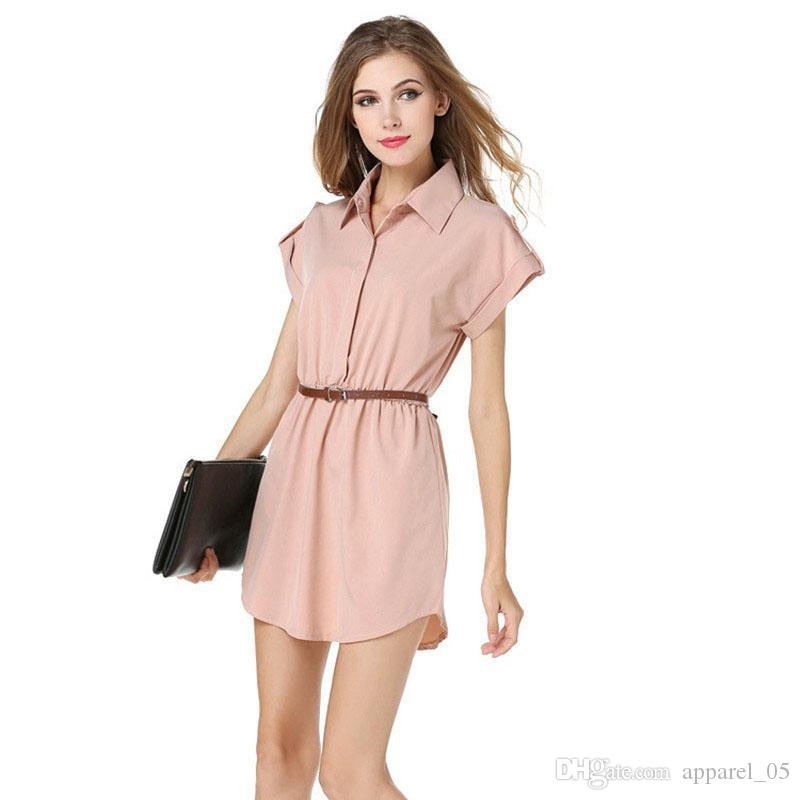 a608765e1 Hot Plus Size 2016 Summer Womens Shirt New Fashion Skirt Lapel Dress A-Line  Skirt Online with  15.56 Piece on Apparel 05 s Store
