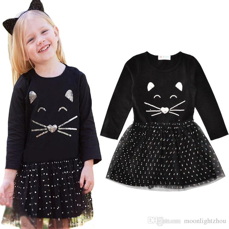 2221a0302811 Acquista Vestito Da Ragazza Di Natale In Autunno Cartone Animato Animale  Gatto Kids Party Dress Baby Girls Abiti Moda Pizzo Pois Bambini Abiti Abiti  A  6.34 ...