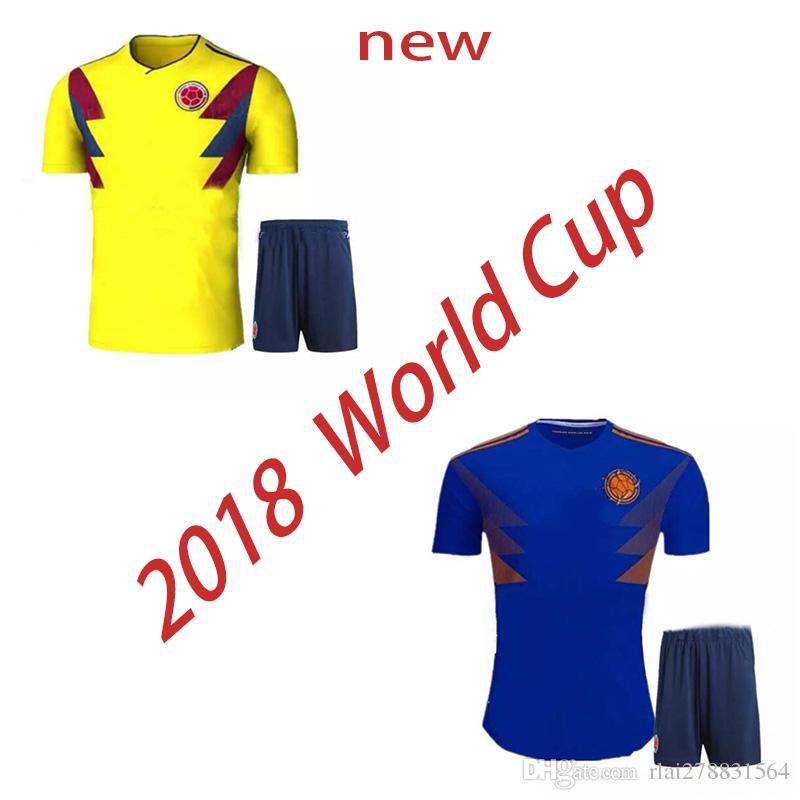 best service 34ec9 90fe7 Top quality 2018 World Cup Colombia national team Soccer Jerseys Sets  Rodriguez James Falcao Cuadrado Kits Colombia kits