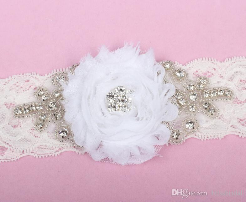 Белое Кружево Эластичный Кристалл Бисером Свадебные Свадебные Carters Ремень С Ручной Цветок Сексуальная Бесплатная Доставка