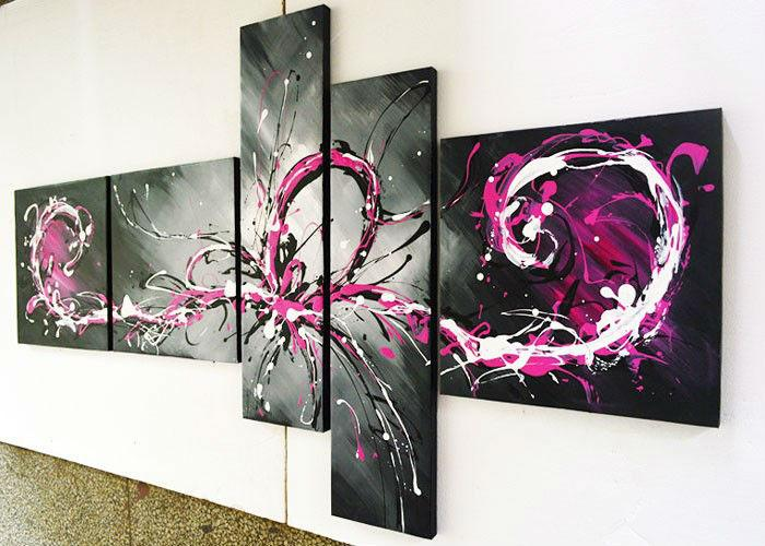 handmade-5-piece-black-white-red-modern-abstract-oil-painting-canvas-wall-art-peacock-pictures-for
