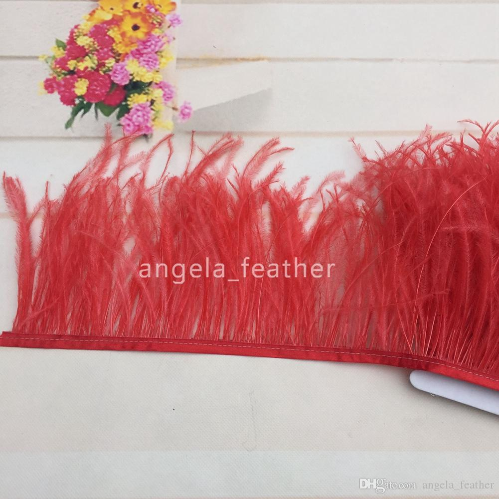 20yards5-6inch/12-15cm Red Natural Ostrich Feather Trimming dress decoration DIY Wedding supplies festival decoration