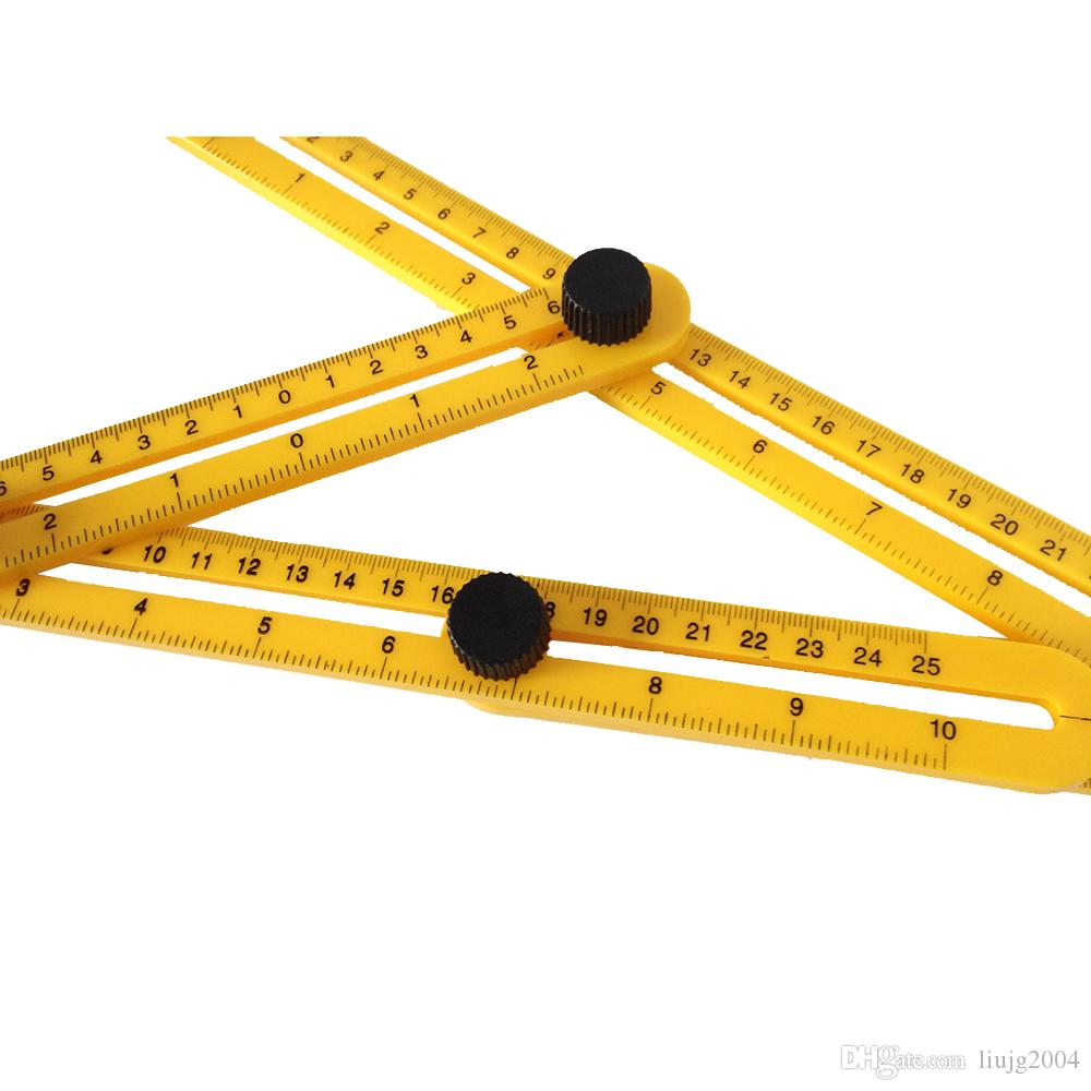 Meilleur en gros Multi-Angle Multifonctionnel pliant règle Angle Izer Outils Quatre Pliant En Plastique Règle Instrument de Mesure Grand Modèle