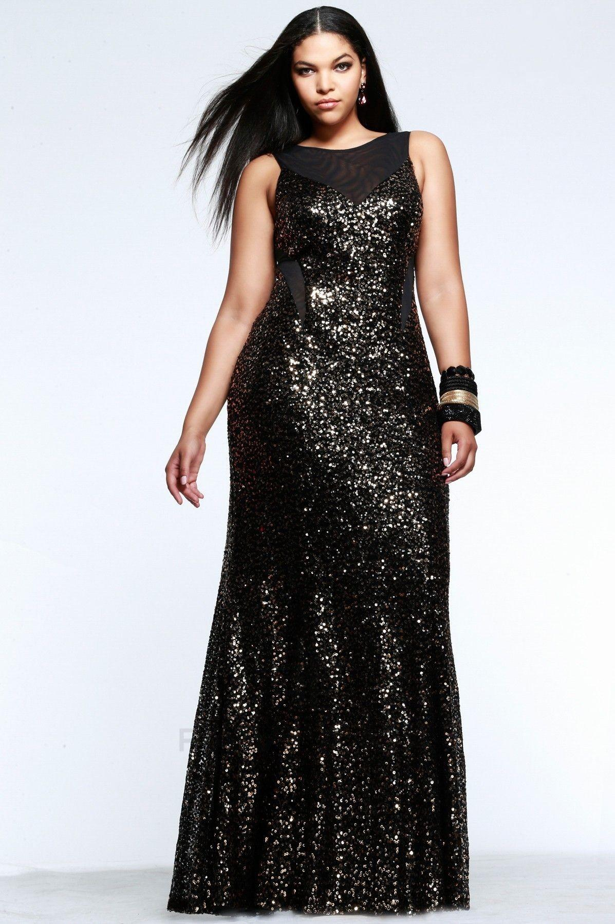 Scoop Sequins Prom Dress Plus Size Special Occasion Floor Length ...