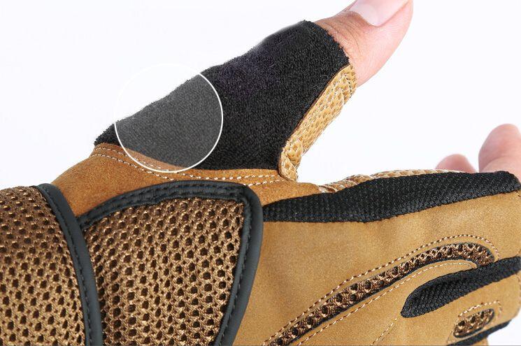 Män taktiska handskar halvfinger fitness handskar palm mikrofiber läder ingen glida utomhus sport / träningshandskar m / l / xl svart / brun