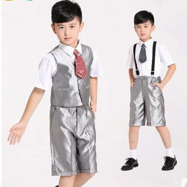 2017 2015 hot children wedding suits kids tuxedo silver color boys formal occasion dress white shirt vest pants belt tie sets short sleeves from ebelz004