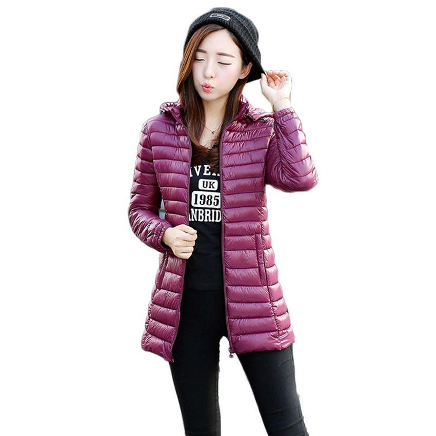Veste femme BOoDinerinle Plus Size Le chapeau peut être démonté Veste d'hiver légère en coton à plumes Veste manteau Slim Basic coat MY005