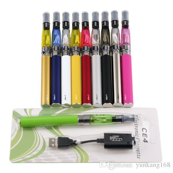 Newest Ego-t CE4 Blister kits 650mah 900mah 1100mah ego battery 1.6ml detachable E Cigarette CE4 atomizer Starter Kits DHL