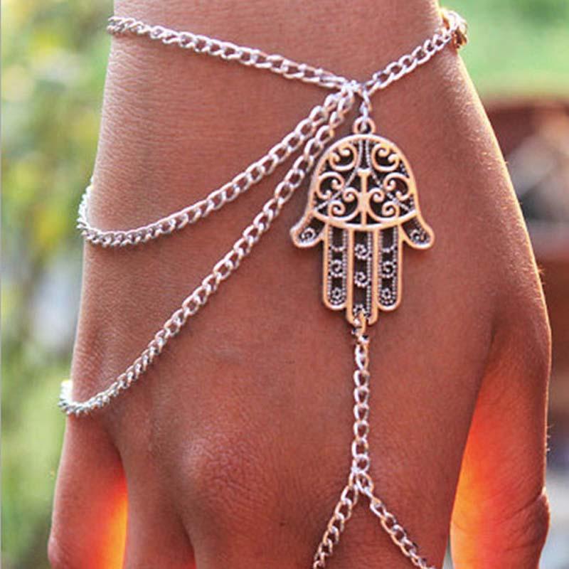 Nouveau Steet Style Bracelets Asymétrique Femmes Hamsa Fatima Bracelet Bague Bague Esclave Chaîne Main Harnais Bijoux De Mode Chaînes Charme Bracelet
