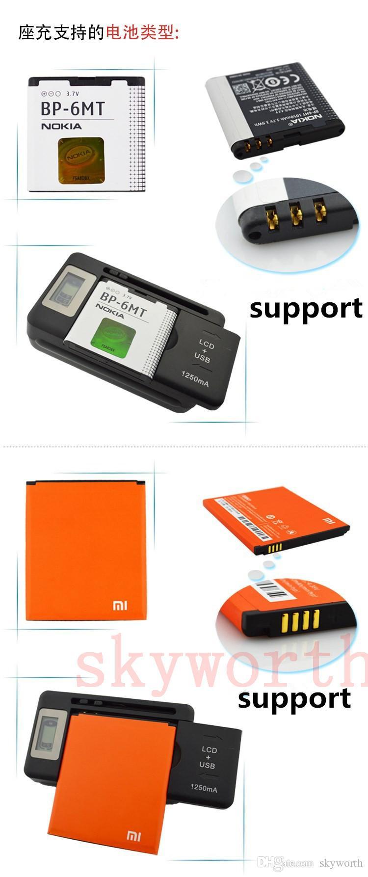 Universal-LCD-Bildschirm USB-AC-Handy-Akku Li-Ion-Startseite Wand Dock Reise-Ladegerät Samsung Galaxy S4 S5 S6 Rand Hinweis 3 4 Nokia Handy