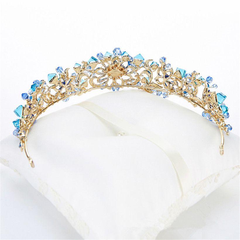 Vintage Fashion Wedding Bridal Blue Crystal Rhinestone Queen Princess Hair Accessories Headband Crown Tiara Jewelry Headpieces Band