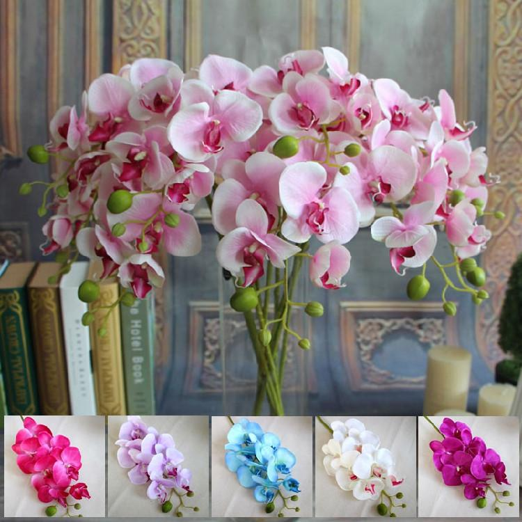 Wholesale Artificial Silk Flowers Small Butterfly Orchid 78cm Trumpet Phalaenopsis For Wedding Party Decorations Flower Real Touch By