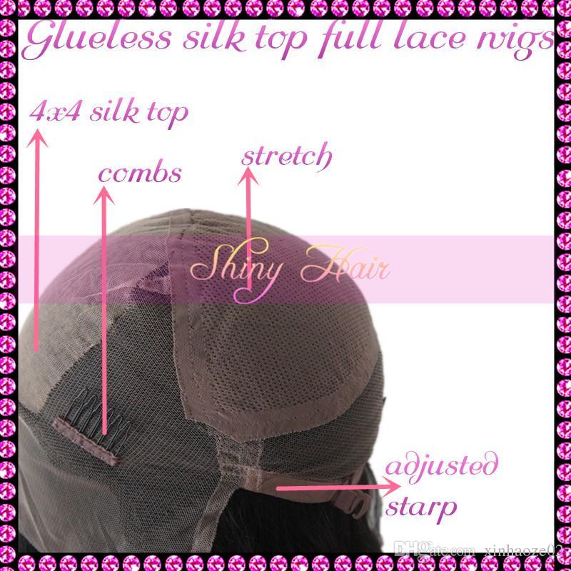 4x4 шелк база парики вьющиеся шелковый топ кружева перед парики / шелковый топ glueless полный парики шнурка с ребенком волос отбеленные узлы для чернокожих женщин